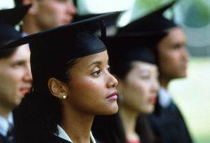Graduates during commencement ceremony