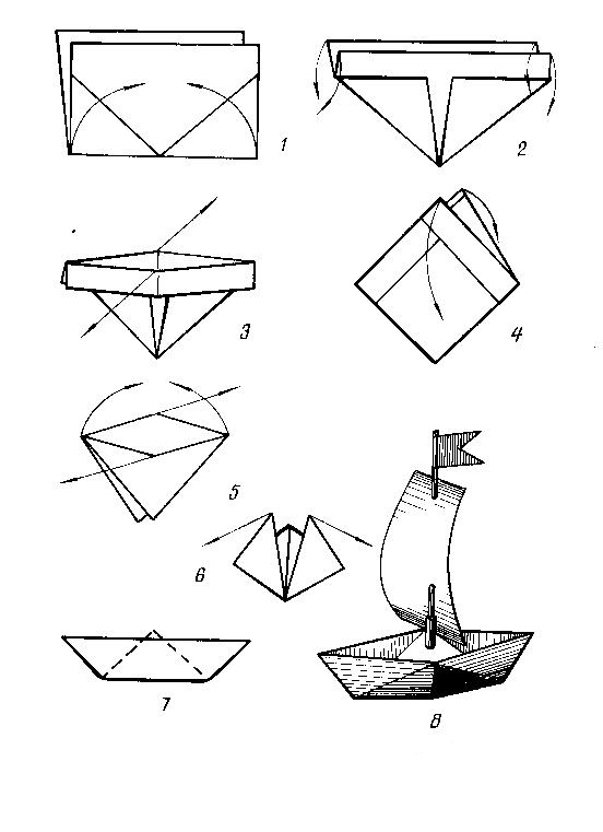 Бумажный кораблик с парусом
