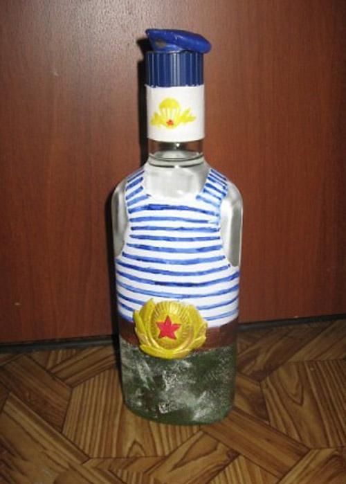 Как оформить бутылку своими руками на 23