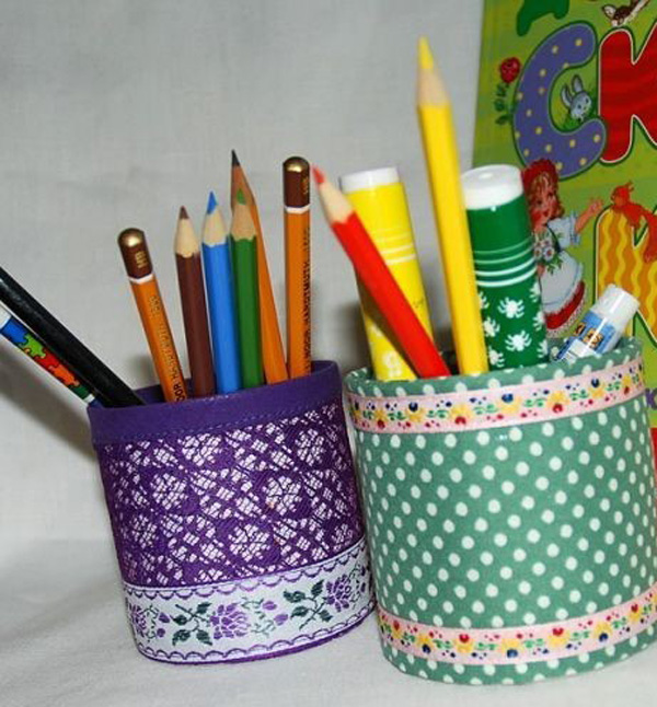 Подставка для карандашей из банок своими руками