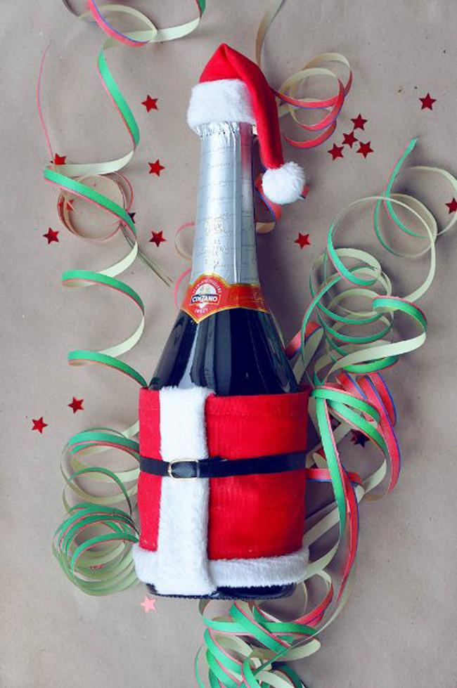 Как украсить бутылку шампанского к новому году своими руками