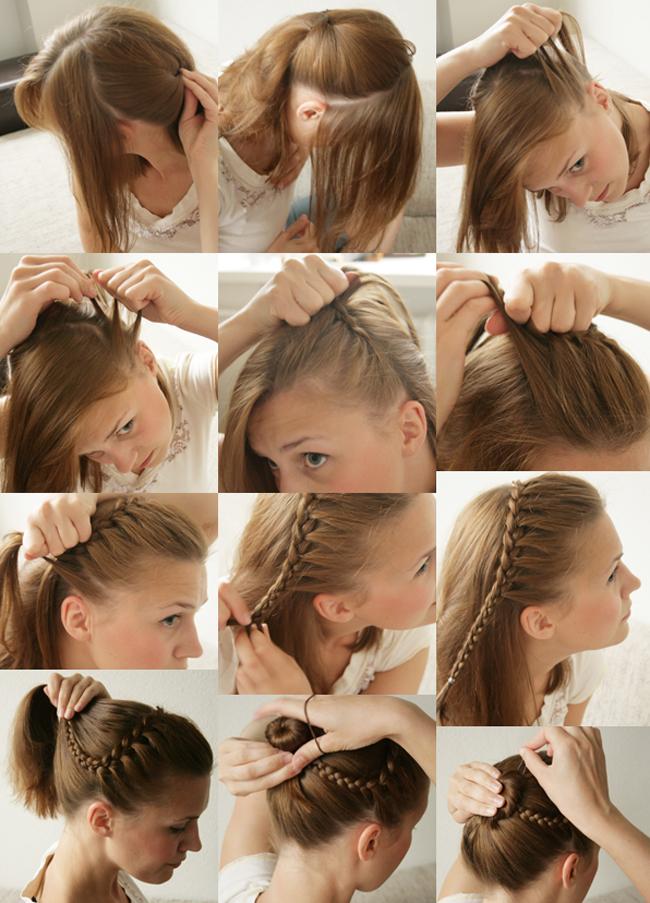 Прически на среднее волосы своими руками фото