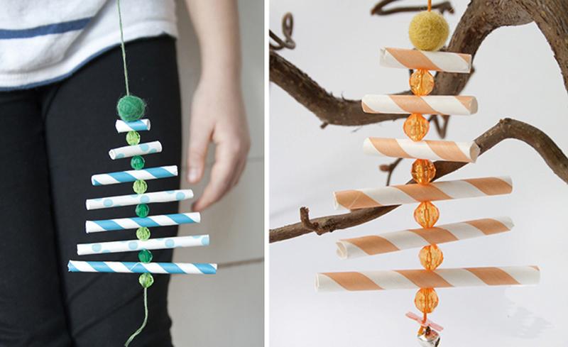 Елочные игрушки из трубочек для коктейля своими руками