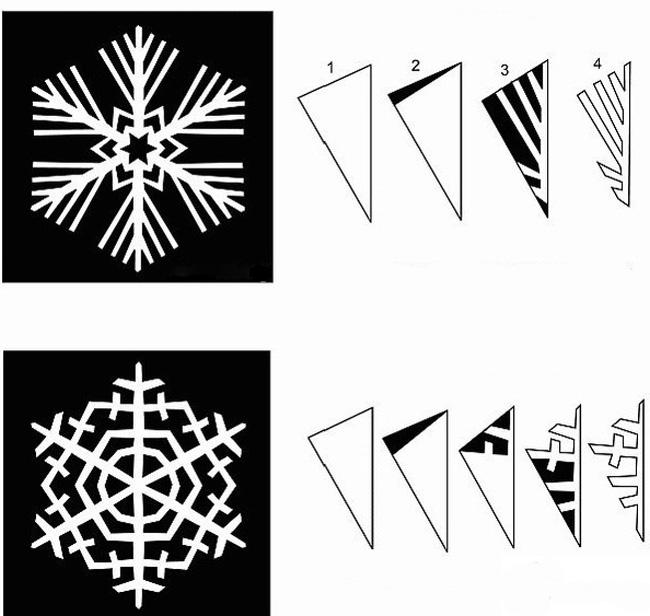 Поэтапные схемы снежинок
