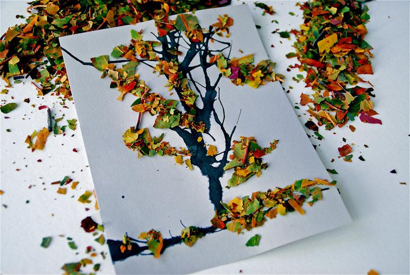 Сова из листьев своими руками фото