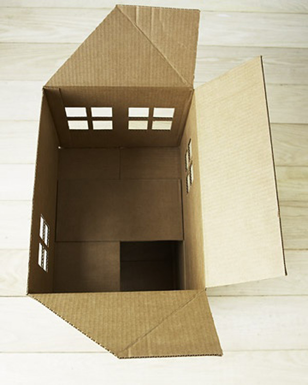 Как сделать домик из картона для кошки