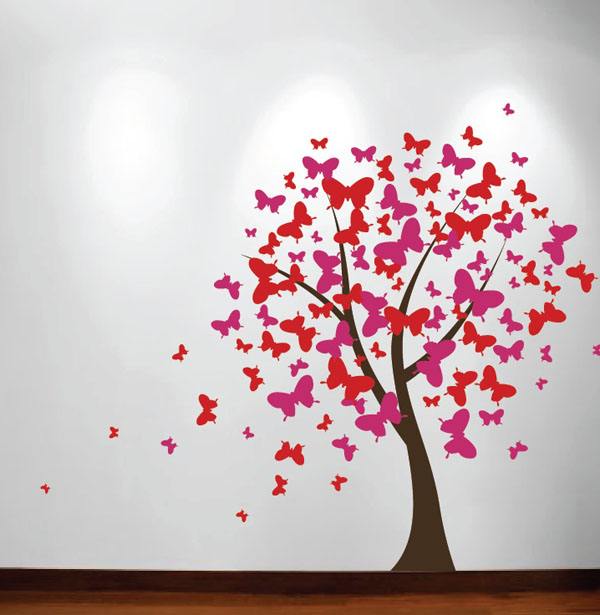 Butterfly tree wall decals