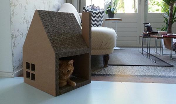 Как сделать домики для кошек из коробки 17