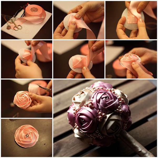 Букеты роз из лент своими руками