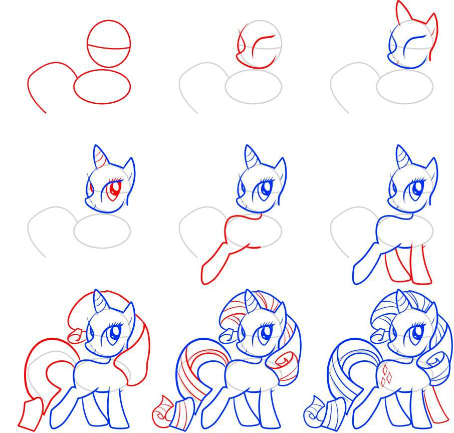 Как нарисовать пони: поэтапные схемы, видео и уроки рисования