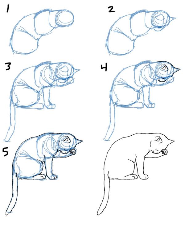 Рисуем красивую кошки поэтапно