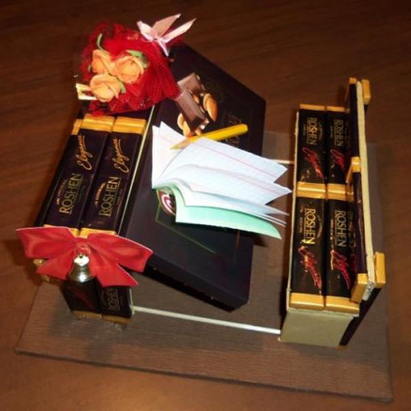 Подарок из конфет своими руками для учителя
