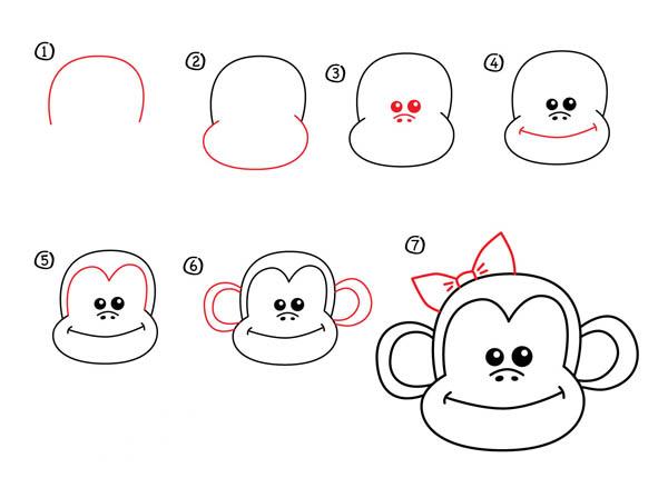 Как нарисовать обезьяну поэтапно карандашом: схемы, фото, видео и мастер классы