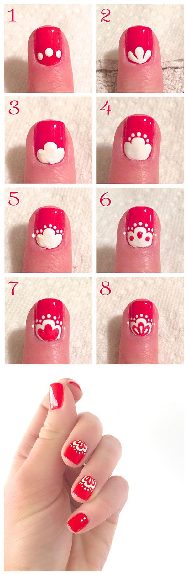 Рисунок на коротких ногтях пошагово фото