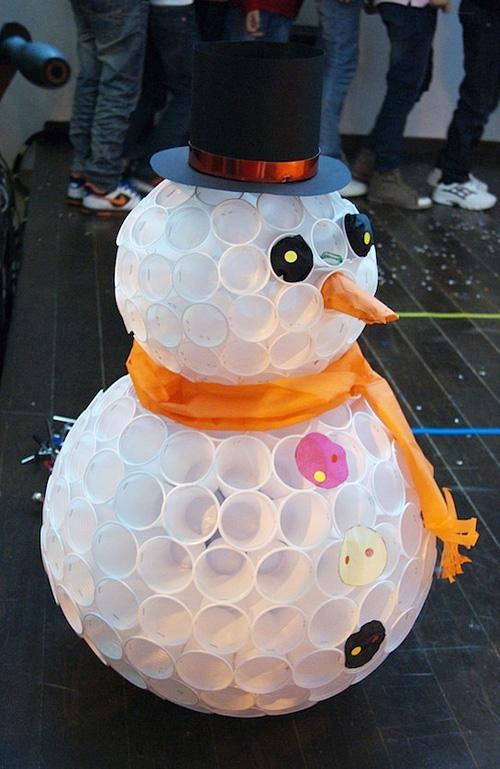 Снеговик из бумаги своими руками из бумаги