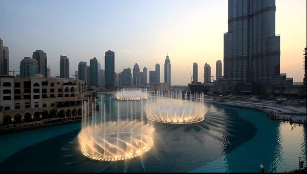Фонтан Дубай. Фонтаны в Дубае видео, фото