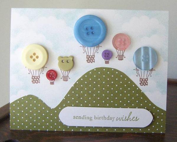 Открытки с Днем Рождения: открытки с пуговицами своими руками