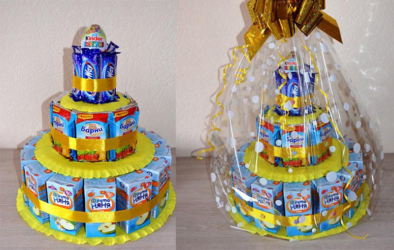 Торт своими руками из шоколадок и сока