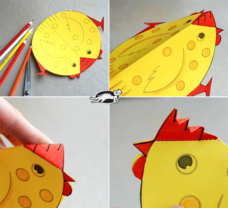 Как сделать курицу из цветной бумаги