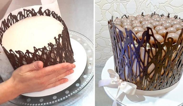 Как украшать по бокам торт