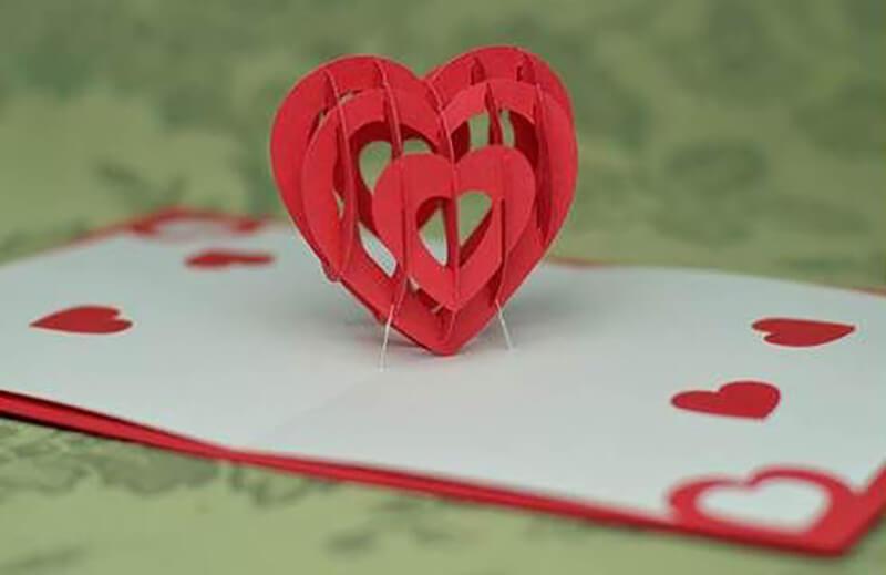 Открытки объёмные сердечки из 11