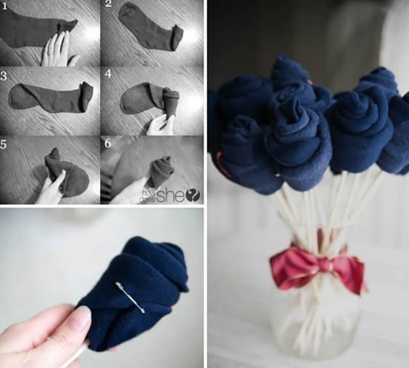 Красивый букет из носков своими руками 28
