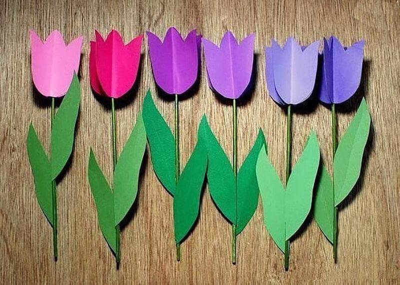 Как сделать тюльпаны из цветной бумаги своими руками