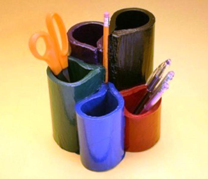 Подставка для карандашей и ручек. Как сделать своими руками подставку для карандашей и ручек?