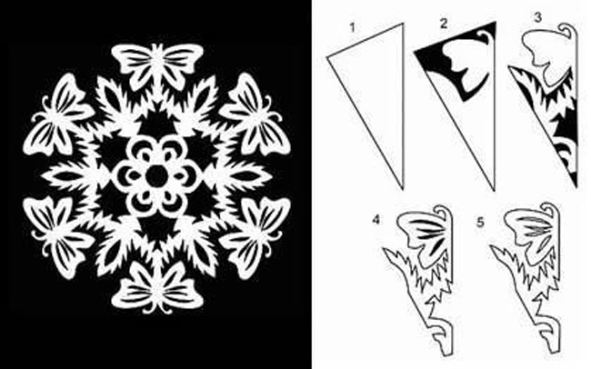 Схема как вырезать снежинку фото 486