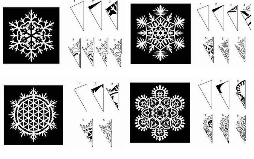 Схема как вырезать снежинку