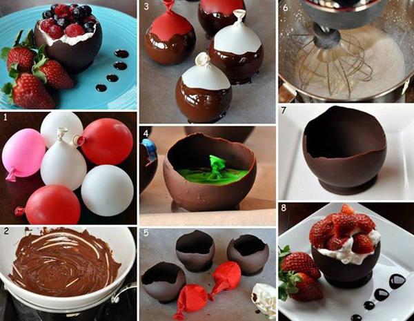 Красивый десерт: домашний десерт в шоколадной корзинке