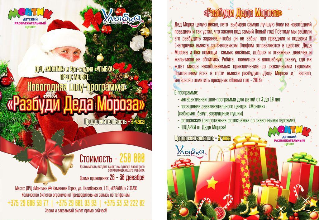Новогодняя шоу-программа «Разбуди Деда Мороза» от Арт-студии «Улыбка» и ДРЦ «Монтик»