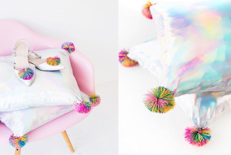 Декоративные подушки своими руками: диванные подушки с помпонами