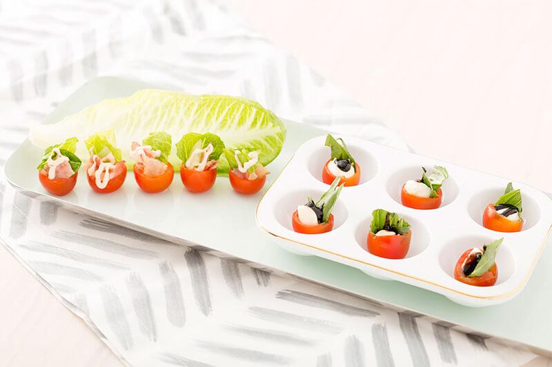 Канапе на праздничный стол: моцарелла с помидорами черри
