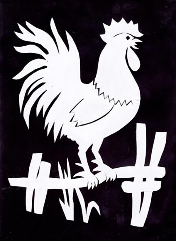 Трафарет петуха, шаблон петуха для вырезания распечатать