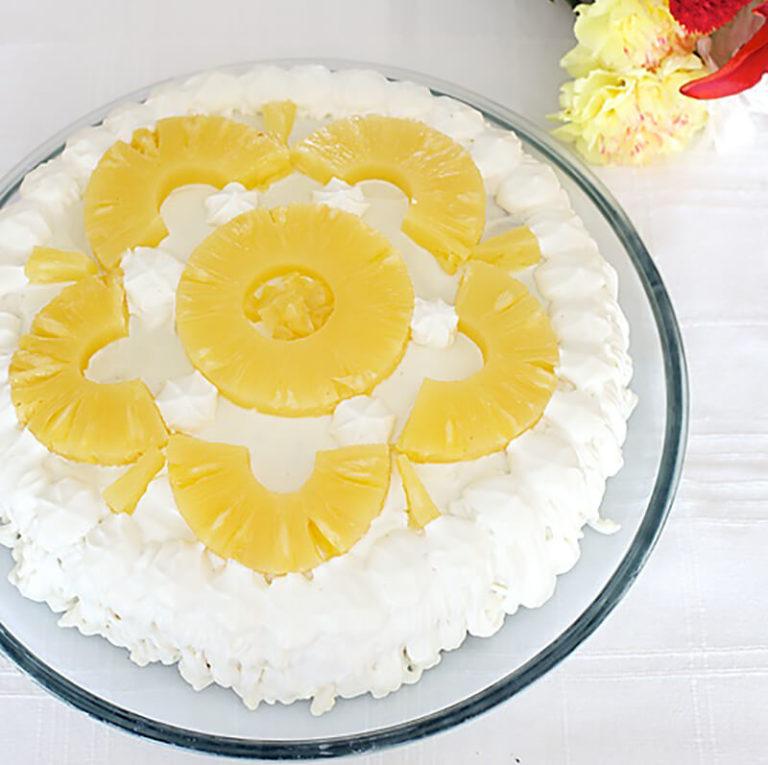 Украшение тортов ананасами фото