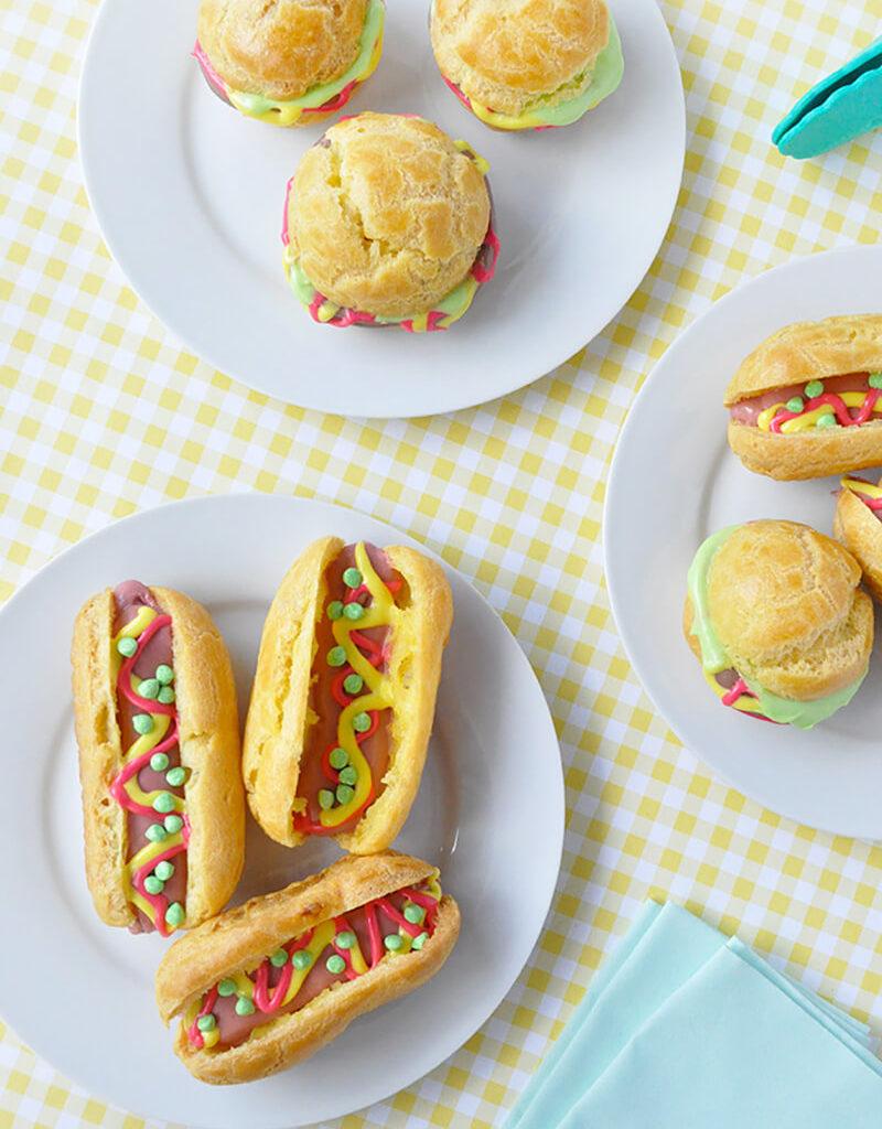 Эклеры и профитроли в домашних условиях. Как украсить эклеры в виде гамбургеров и хот-догов?