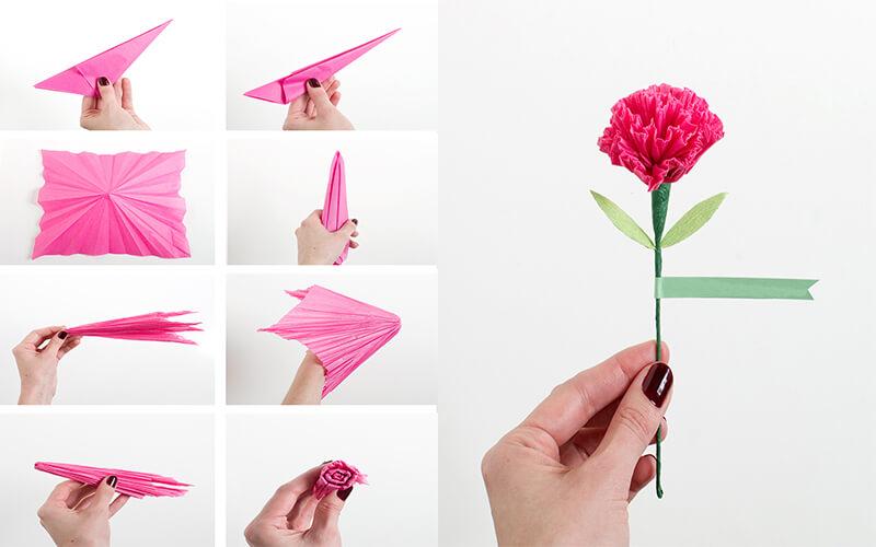 искать, как сделать гвоздики из бумаги на открытку поэтапно ней
