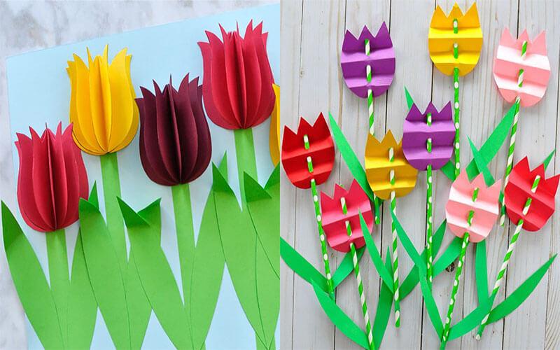 000-7 Тюльпаны своими руками. Тюльпан из бумаги своими руками