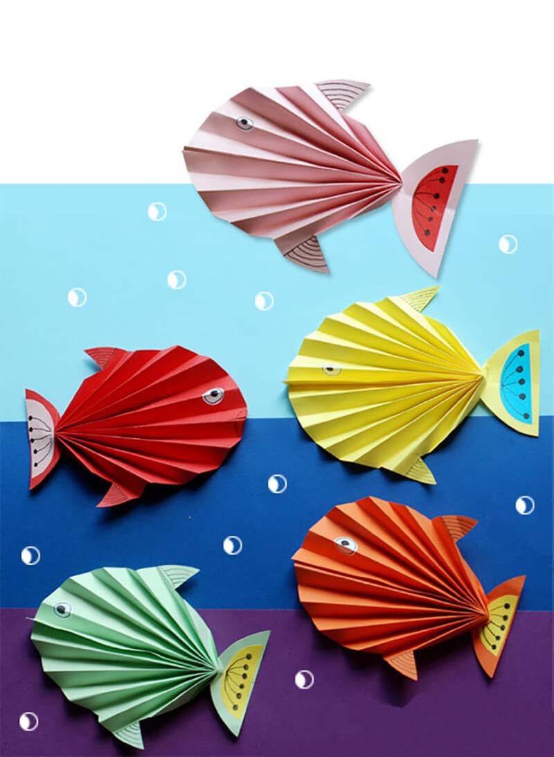 Рыбка из цветной бумаги своими руками фото 358