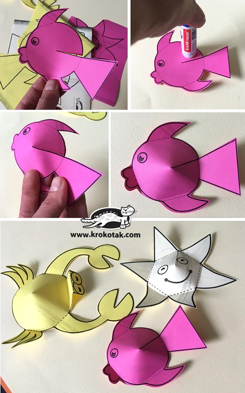 Рыбка из цветной бумаги своими руками фото 758