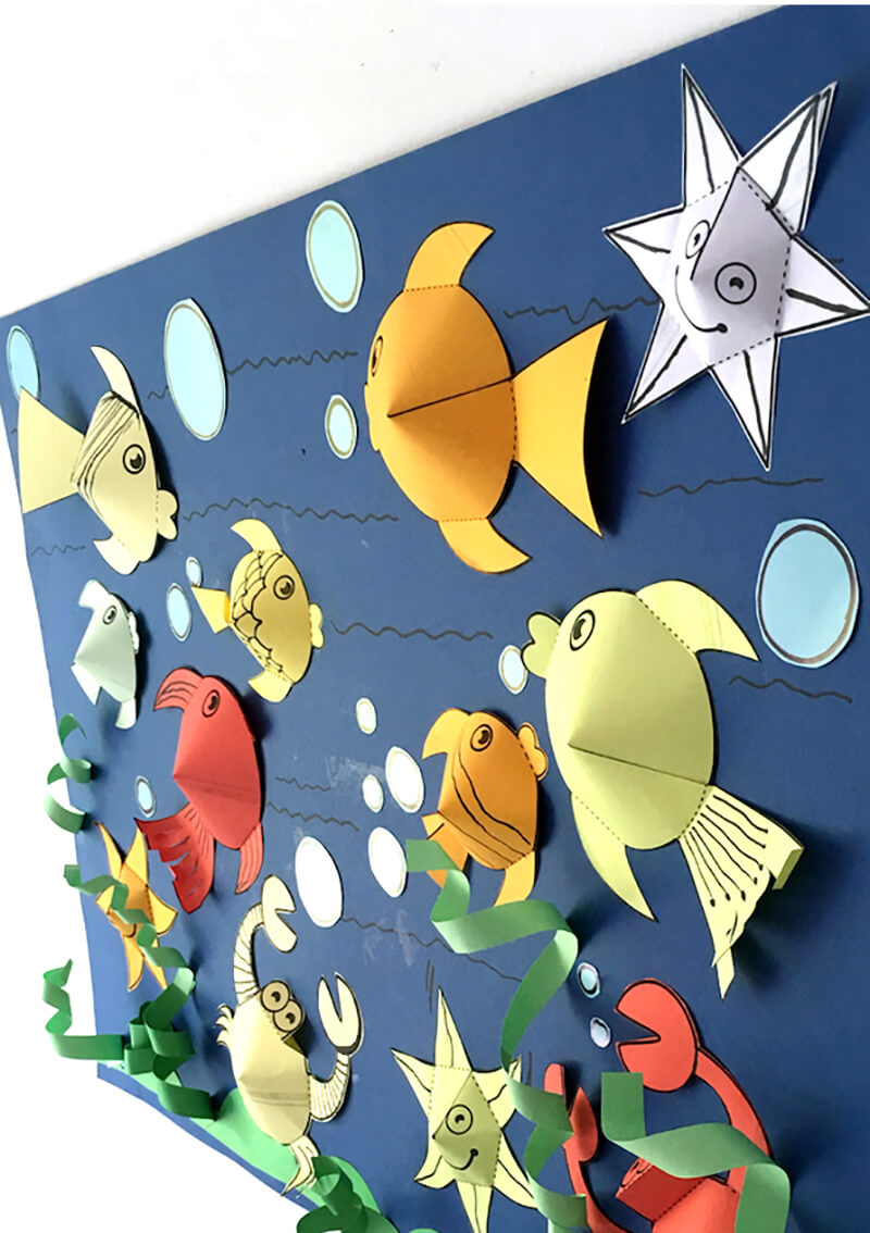 Рыбка из цветной бумаги своими руками фото 497