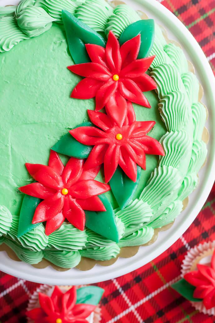 Цветок Рождественская звезда своими руками для украшения тортов