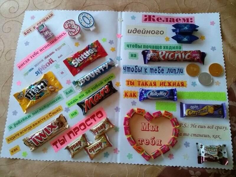 открытка с конфетами своими руками на день рождения брату для