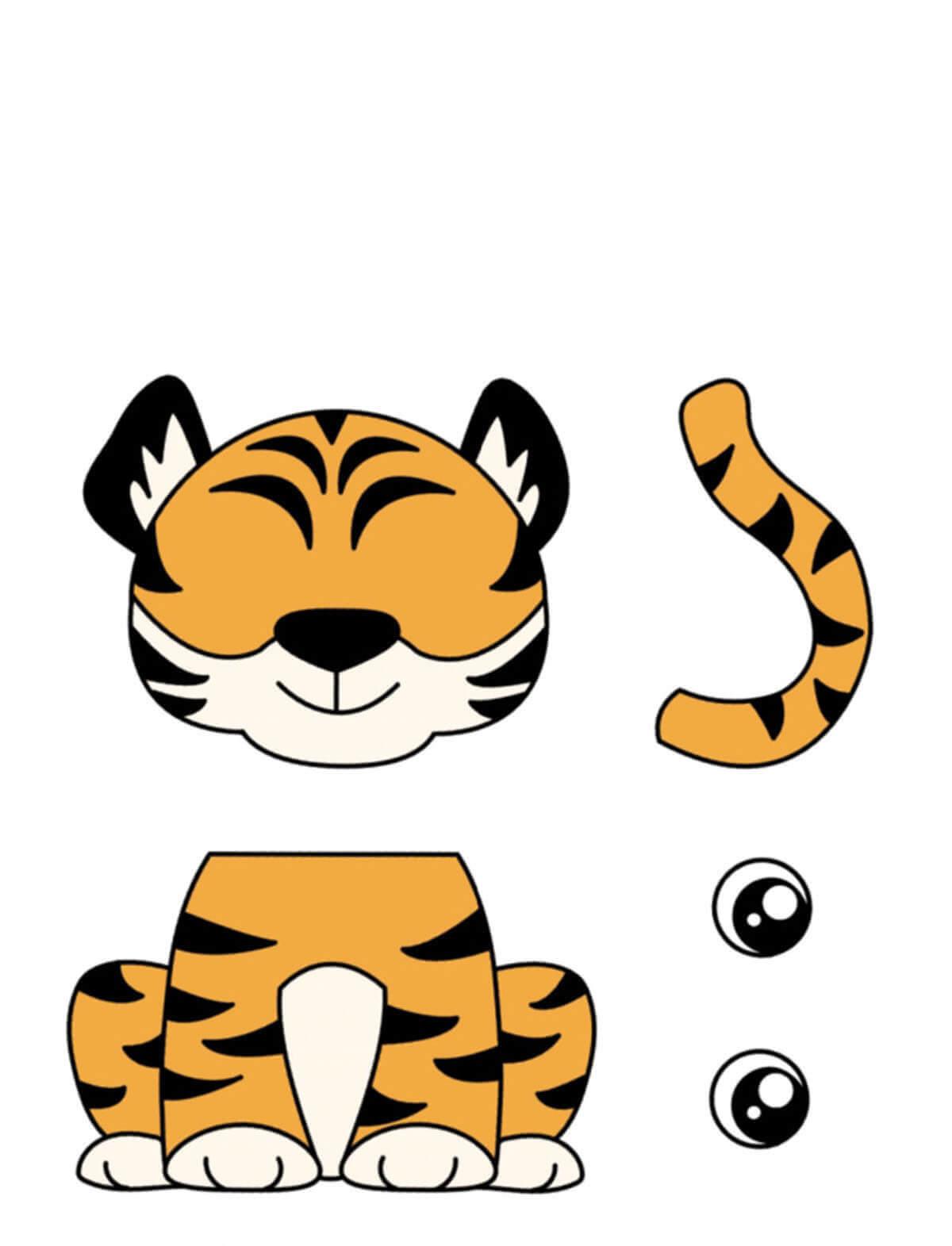 Аппликация Тигр из бумаги для детей (шаблон)